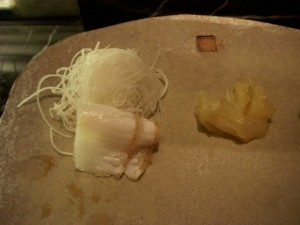 Torched halibut sashimi