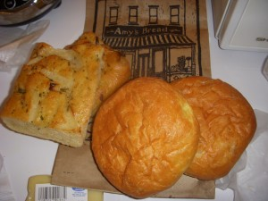 Brioche buns from Amy's Bread, plus some soft fluffy focaccia for noshing