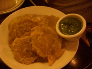 Tostones with chimichurri sauce