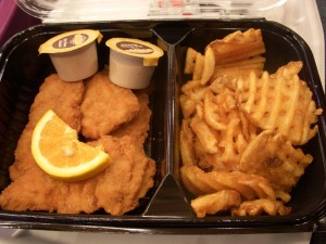 Soggy, ordinary chicken tenders and waffle fries