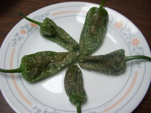Fried pimientos de padron sprinkled with coarse salt