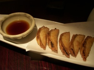 Overly fishy age gyoza