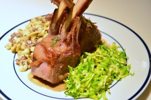 Sous vide rack of lamb, shaved brussels sprouts salad, spaetzle with mushroom cream sauce