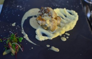 Sweetbreads on top of celery root puree with fig and truffle sauce