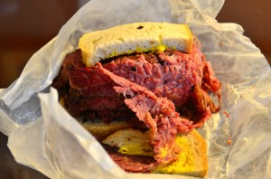 Smoked meat sandwich from Schwartz's