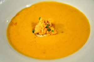 Shrimp bisque with pimento crostini