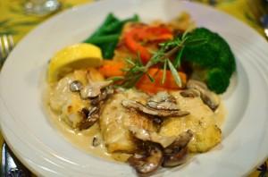 Monkfish with mushroom cream sauce