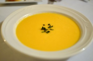 Soup of the day - cold cantaloupe, honeydew, and banana melon soup