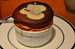Grand Marnier souffle with creme anglaise