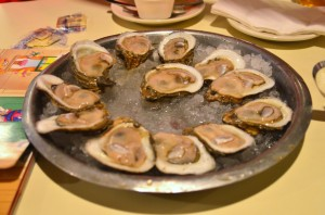 A dozen raw oysters (and a side of Sesame Street for J)