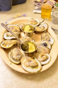 A dozen raw oysters