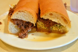 Roast beef po' boy with debris and gravy