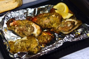 Charbroiled oysters to go