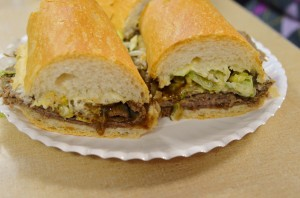Roast beef po' boys fully dressed