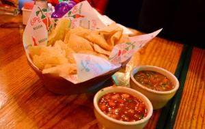 Tortilla chips, salsa, bean dip