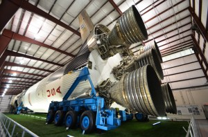 The massive thrusters on the Saturn V rocket