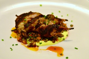 Grilled quail, curried spiced yogurt, french green lentils, orange