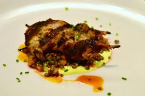 Grilled quail, curried spiced yogurt, french green lentils, orange