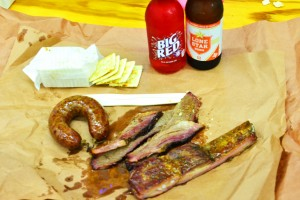 Assorted barbecued meats from Smitty's Market