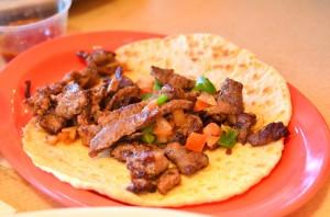 Steak a la Mexicana taco