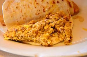 Chorizo and eggs taco