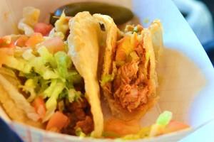 Puffy chicken taco innards