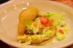 Puffy beef taco from La Hacienda de Los Barrios