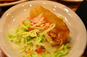Puffy chicken taco from La Hacienda de Los Barrios