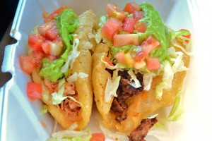 Chicken and beef puffy tacos from Henry's Puffy Taco