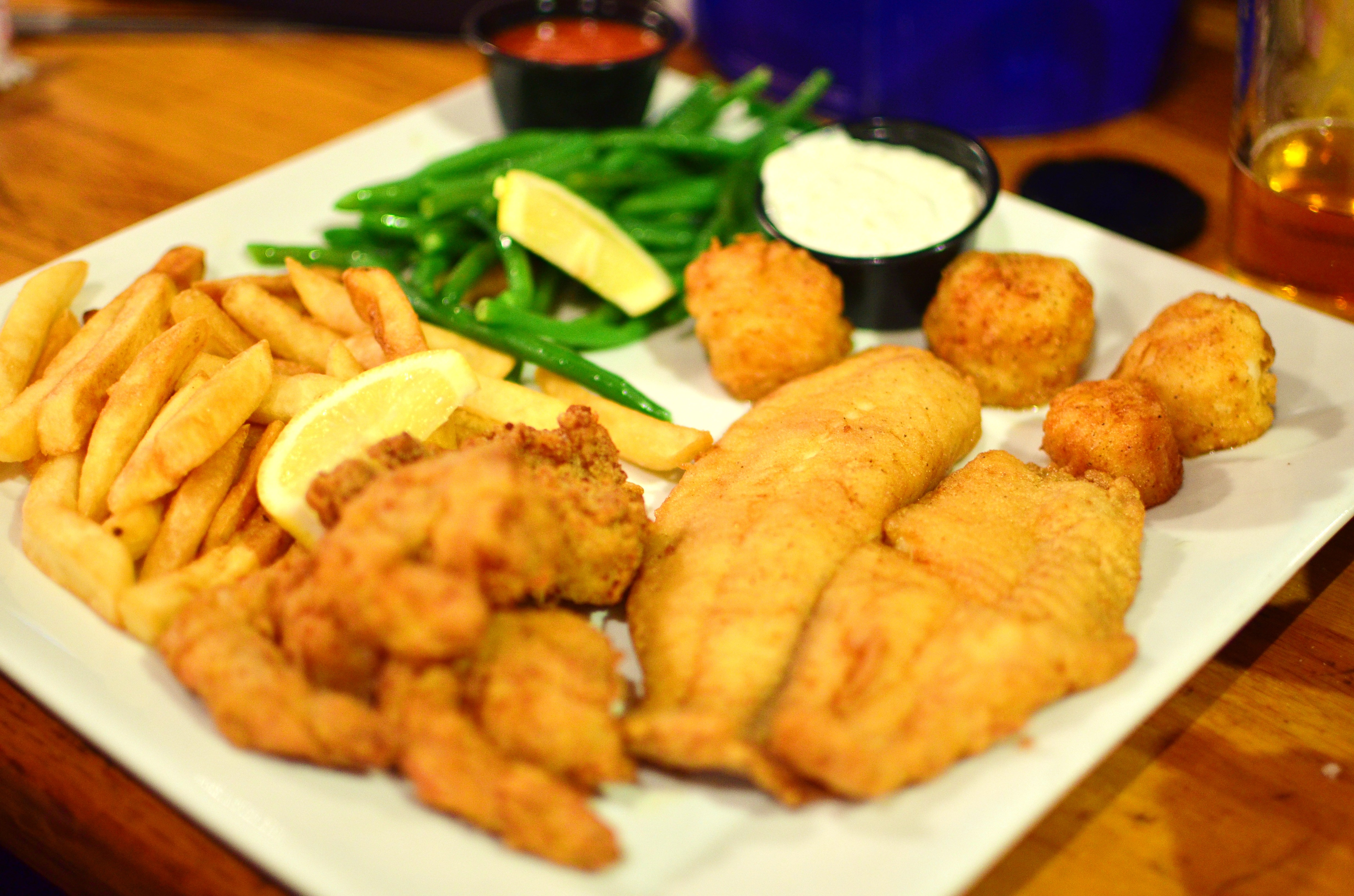 Captain's platter with fried shrimp, tilapia, and scallops