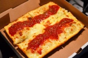 Classic Detroit-style cheese pizza
