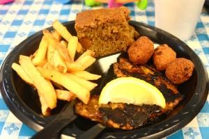 Jerk grouper, french fries, sweet potato cornbread, hush puppies