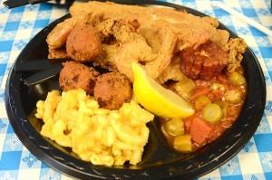 Hush puppies, mac n' cheese, stewed okra and tomatoes