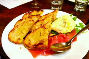 Burrata with grilled bread, prosciutto, arugula, and aged balsamic