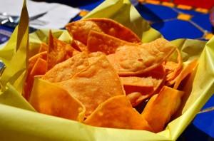 Freshly fried tortilla chips